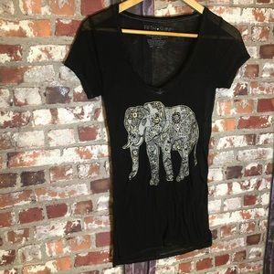 Fifth Sun 💕 cute sheer elephant Top Boho Style